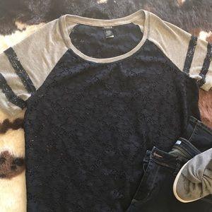 Torrid brand, blue & grey lace t-shirt